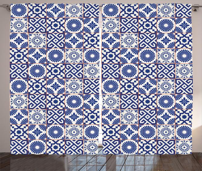 Çini Desenli Fon Perde Mavi Beyaz Kareli