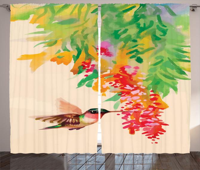 Kuş ve Çiçek Desenli Fon Perde Rengarenk Çeyizlik