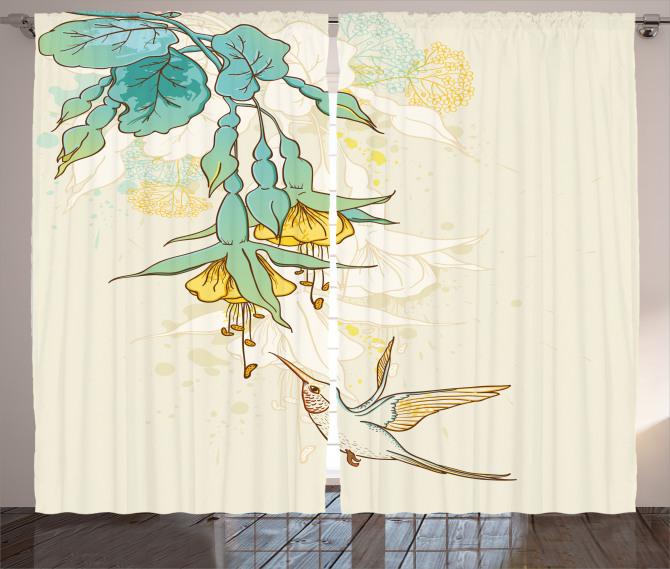 Yeşil Çiçek ve Kuş Fon Perde Çeyizlik Şık