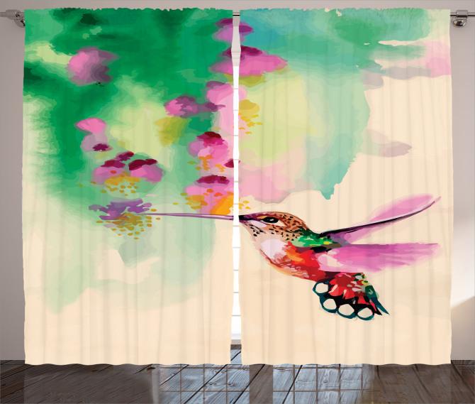 Çiçek ve Kuş Desenli Fon Perde Sulu Boya Çeyizlik