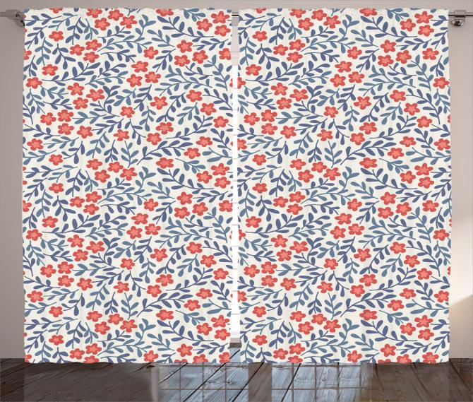 Çiçek Desenli Fon Perde Kırmızı Lacivert Trend