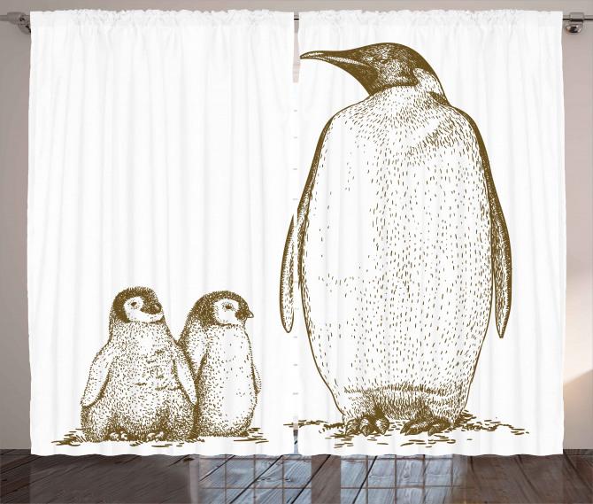 Penguen ve Yavruları Fon Perde Siyah Beyaz