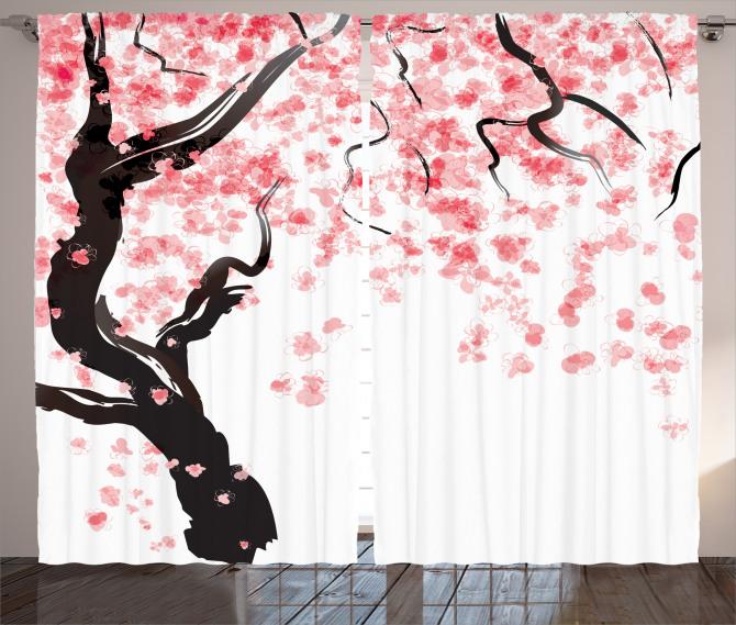 Pembe Çiçekli Ağaç Fon Perde Beyaz Fonlu