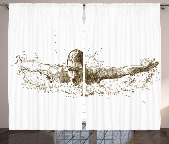 Gözlüklü Yüzücü Desenli Fon Perde Siyah ve Beyaz