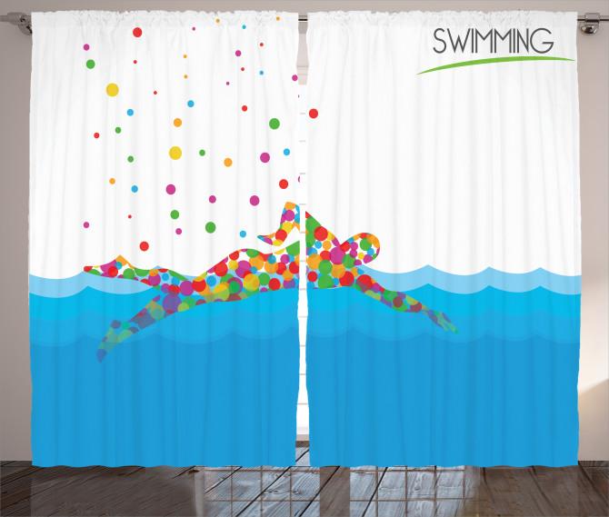 Rengarenk Yüzücü ve Deniz Desenli Fon Perde Mavi