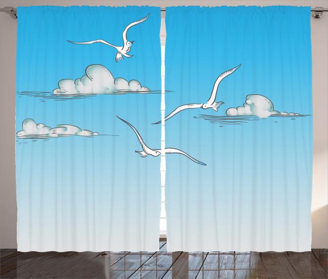 Martı ve Bulut Desenli Fon Perde Mavi Gökyüzü