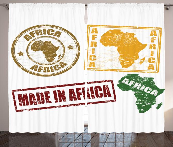 Afrika Temalı Fon Perde Harf Baskılı
