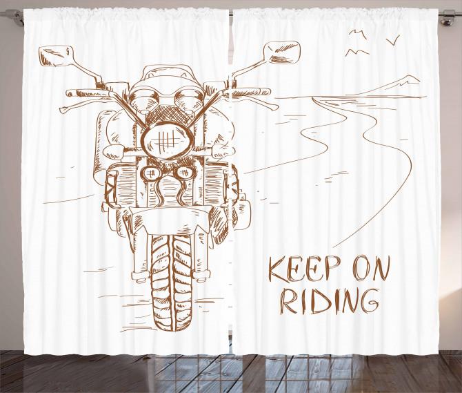 Motosiklet Yolculuğu Temalı Fon Perde Beyaz Yol