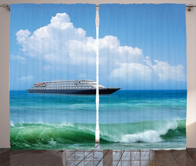 Deniz ve Gemi Desenli Fon Perde Turkuaz Dalga Plaj