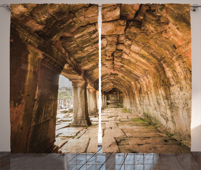 Tapınak Temalı Fon Perde Kahverengi Antik Budist