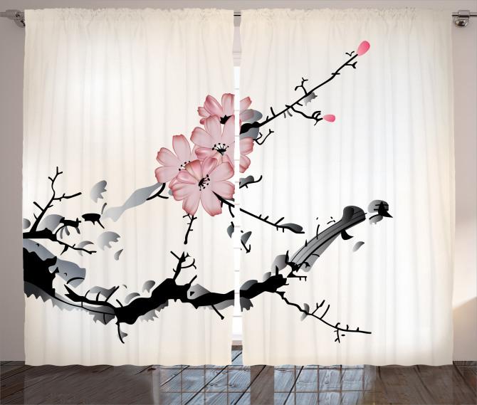 Çiçek Desenli Fon Perde Bej Pembe Siyah Çeyizlik