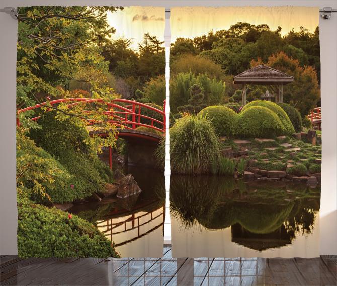 Japon Bahçesinde Gün Batımı Fon Perde Göl