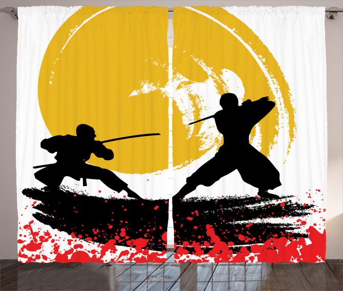 Ninja Desenli Fon Perde Sarı Siyah Kırmızı Savaşçı