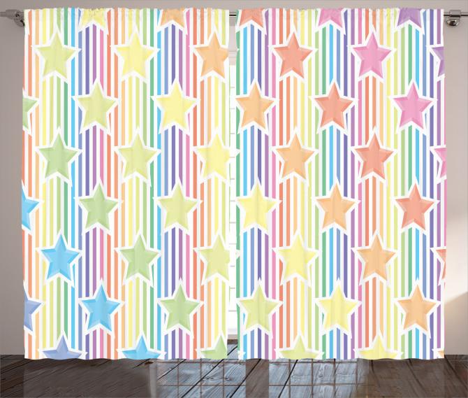Rengarenk Yıldız Fon Perde Çizgili Trend