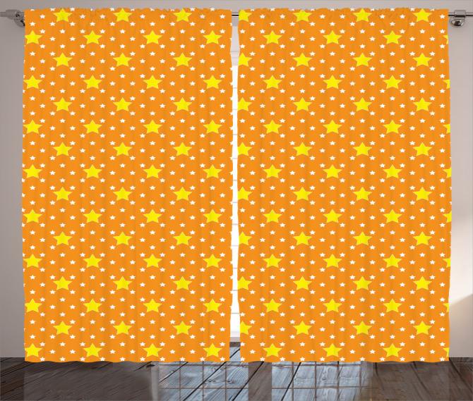 Yıldız Desenli Fon Perde Turuncu Sarı Şık Tasarım