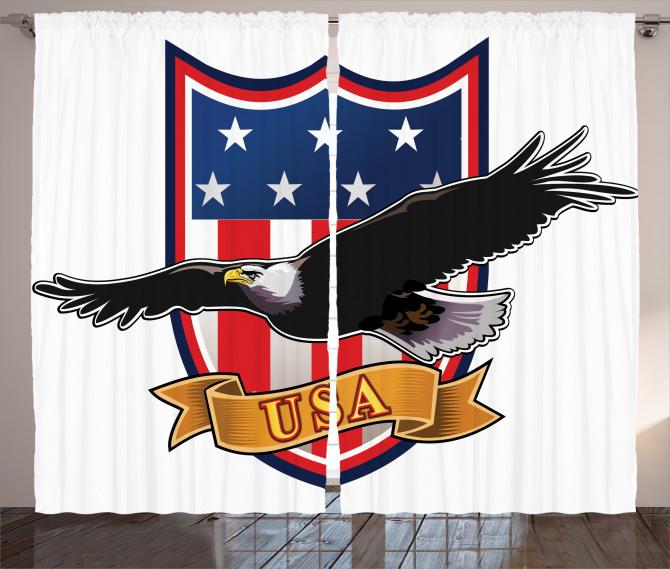 Kartal Desenli Fon Perde ABD Bayrak Kırmızı Siyah