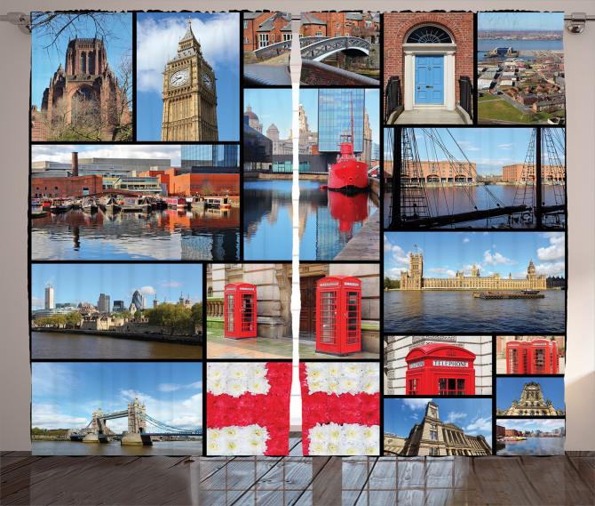 İngiltere Temalı Fon Perde Mavi Londra Gökyüzü