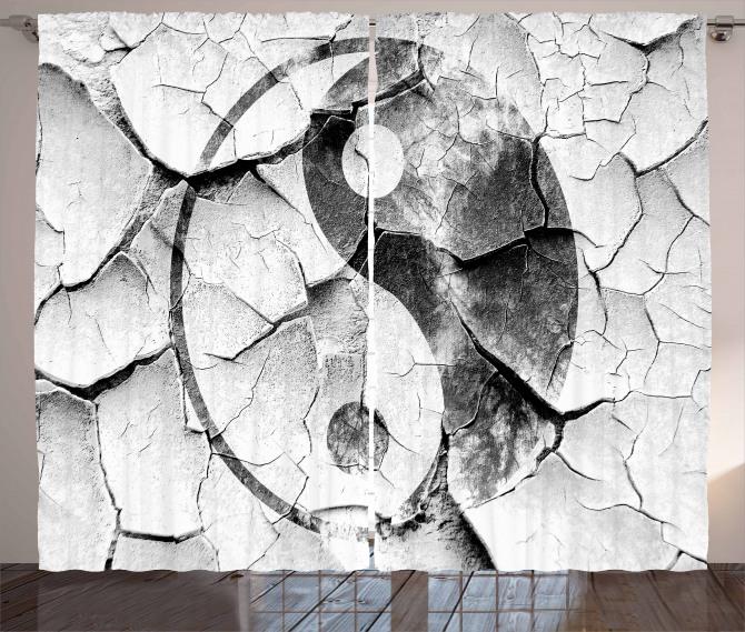 Yin Yang Desenli Fon Perde Siyah Beyaz Nostaljik