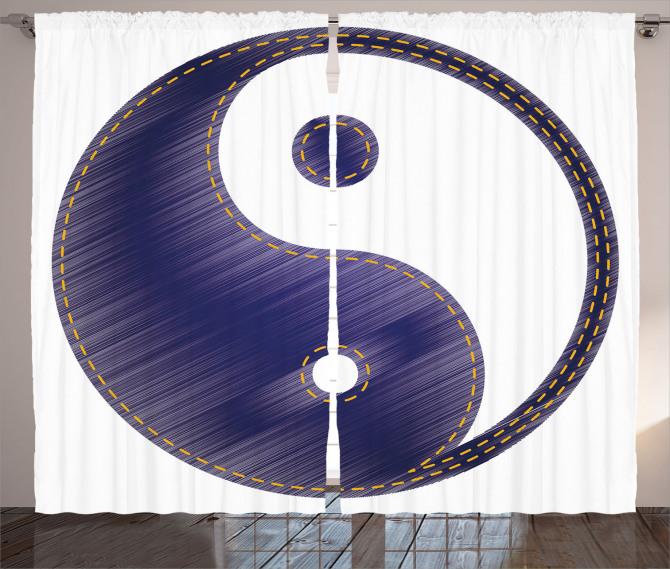 Lacivert Yin Yang Fon Perde Uzak Doğu