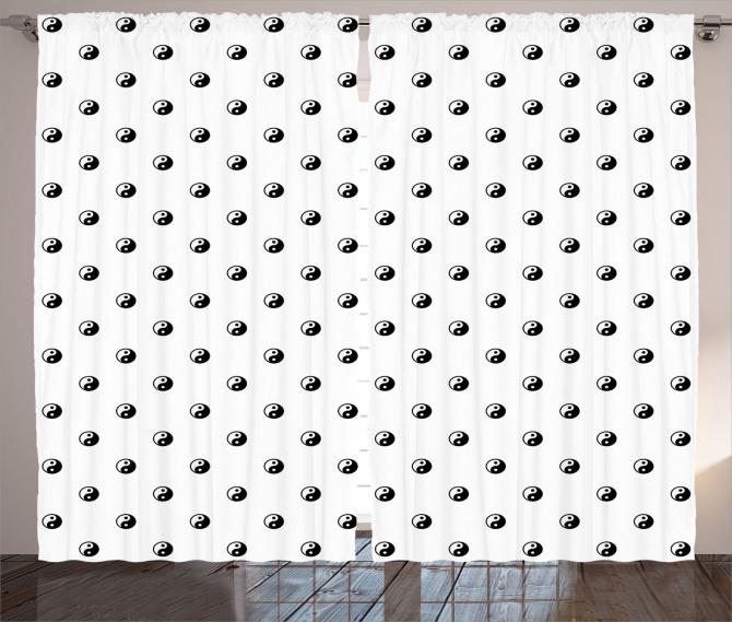 Küçük Yin Yang Desenli Fon Perde Siyah Beyaz