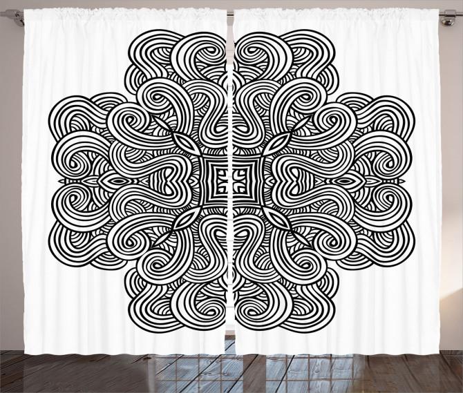 Siyah Beyaz Geometrik Fon Perde Modern