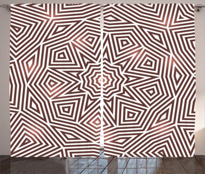 Kahverengi Geometrik Fon Perde Şık Tasarım