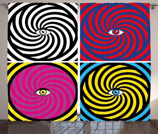 Rengarenk Girdap ve Göz Fon Perde Modern