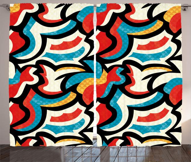 Rengarenk Karmaşık Fon Perde Dekoratif