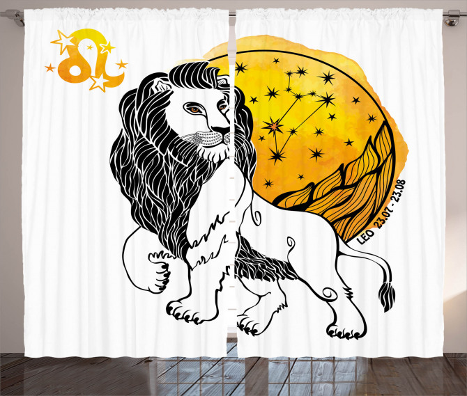 Zodiac Leo Symbol Art Curtain