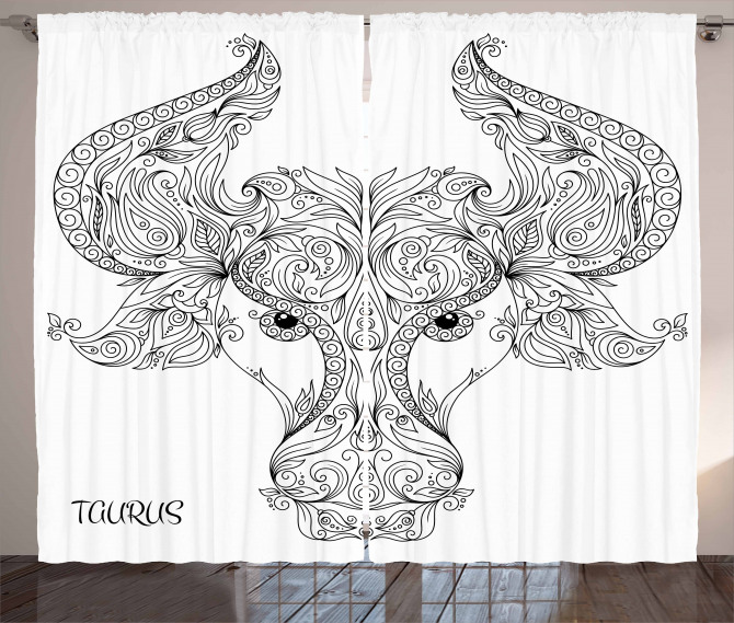 Astrology Curtain Astrology Taurus Sign Print 2 Panel Window Drapes