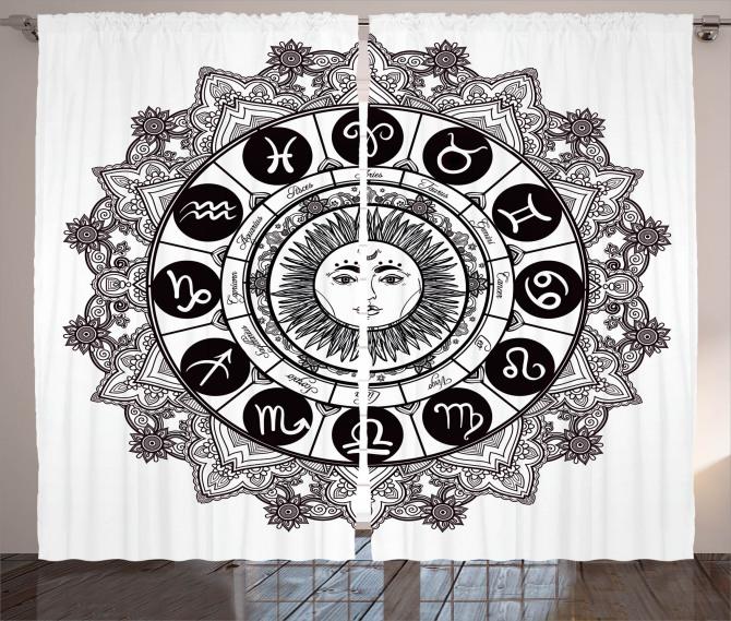 Astrology Curtain Mandala Ethnic Kitsch Print 2 Panel Window Drapes