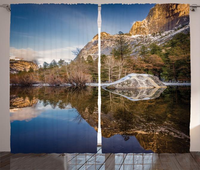 Göl Manzaralı Fon Perde Yeşil Mavi Dağ Ağaç Doğa