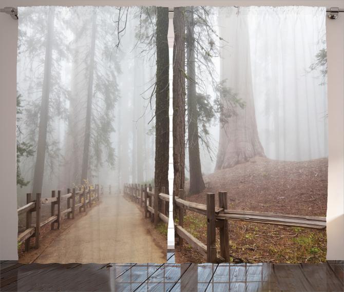 Sisli Orman Manzaralı Fon Perde Ağaç Kahverengi