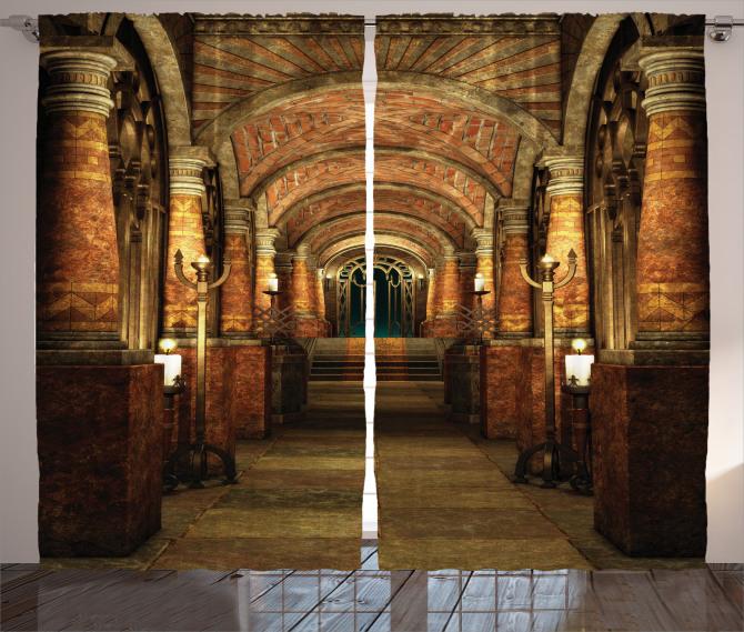 Antik Bina Temalı Fon Perde Kahverengi Merdiven