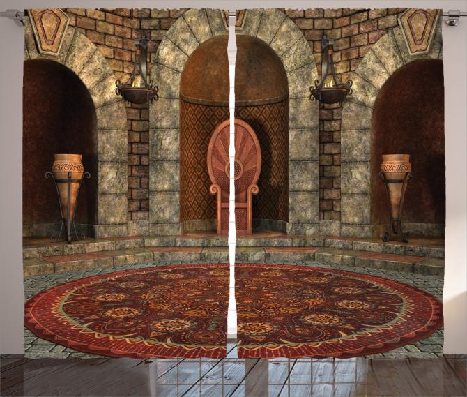3D Etkili Fon Perde Gotik Antik Oda Kahverengi