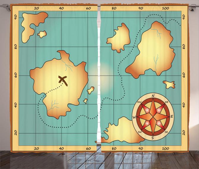 Hazine Haritası Temalı Fon Perde Antik Sarı Mavi