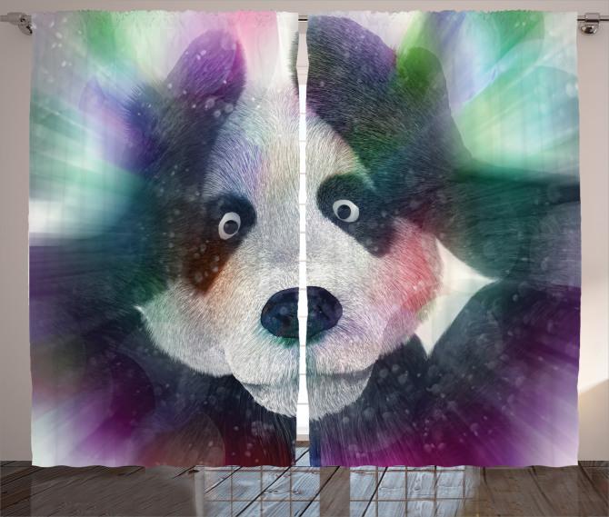 Panda ve Işık Hüzmesi Fon Perde Çocuk İçin