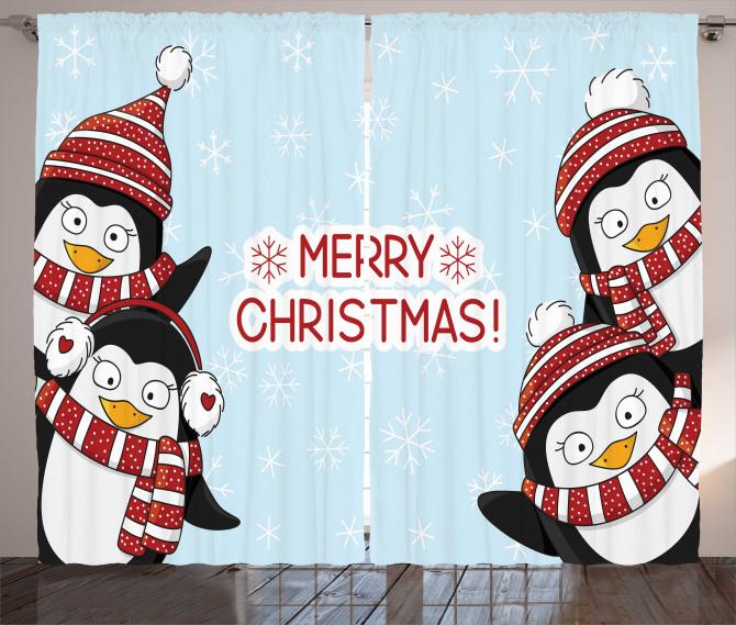 Cute Penguins Kids Curtain