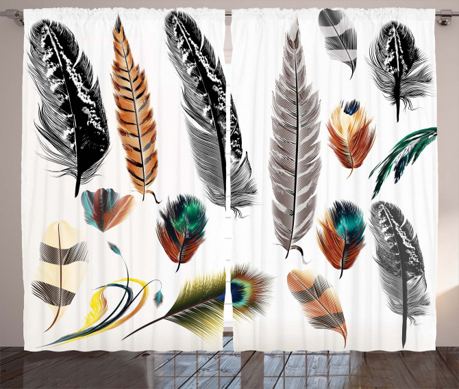 Bird Feather Retro Vibrant Curtain