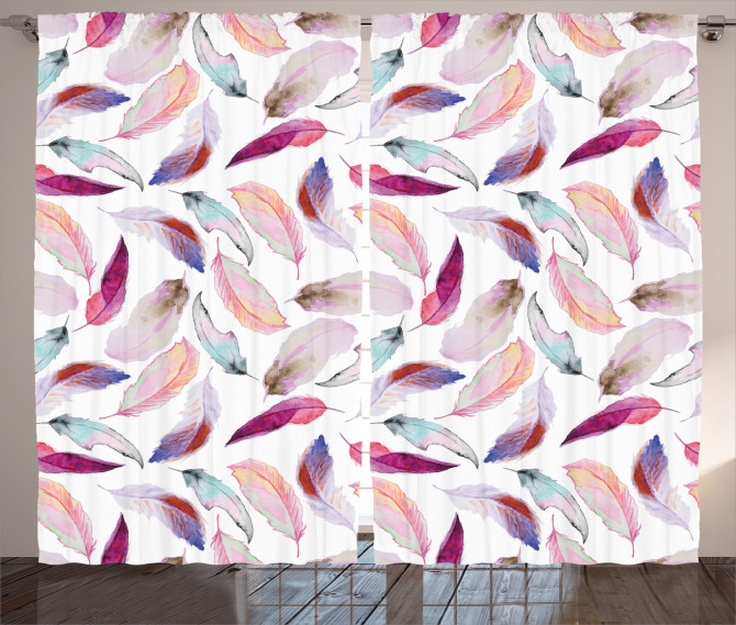 Romantic Curtain Wing Feathers Wing Art Print 2 Panel Window Drapes