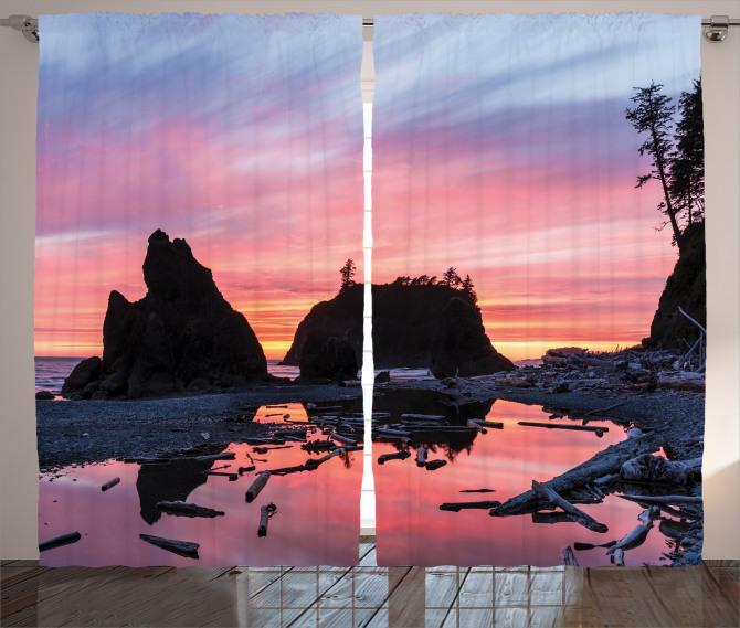 Pembe Gün Batımı Fon Perde Doğa Gökyüzü Deniz