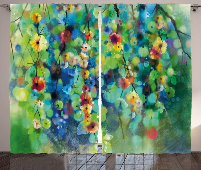 Yeşil Daldaki Çiçekler Fon Perde Rengarenk Şık