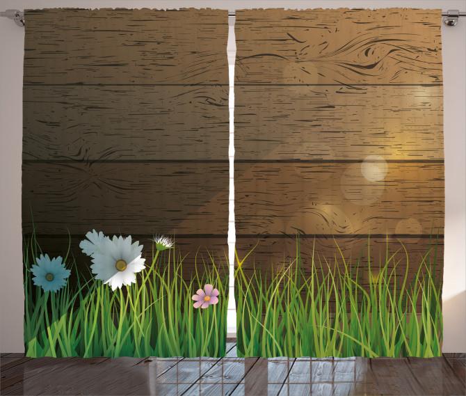 Çiçekler ve Çimenler Fon Perde Kahverengi Yeşil