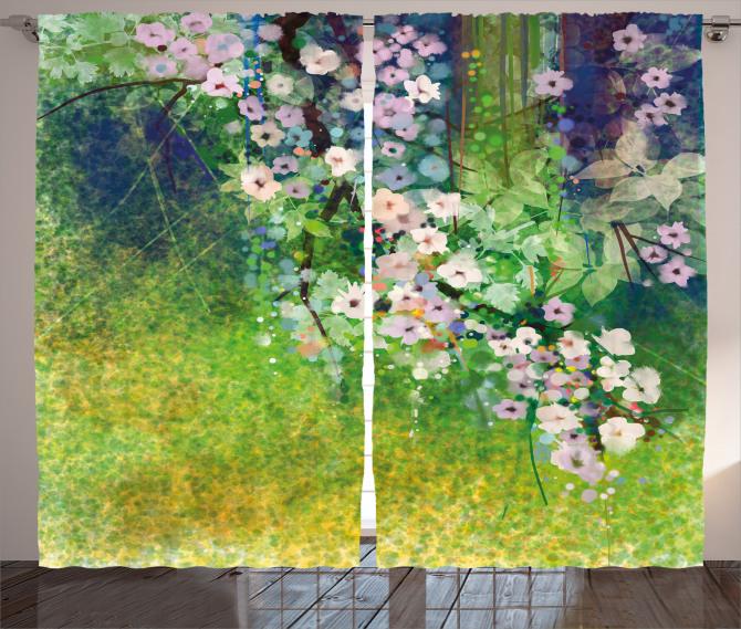 Pembe Çiçekler Fon Perde Şık Tasarım Nostaljik