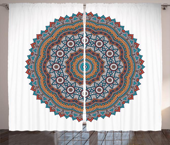 Çiçek Desenli Fon Perde Mandala Trend Turuncu