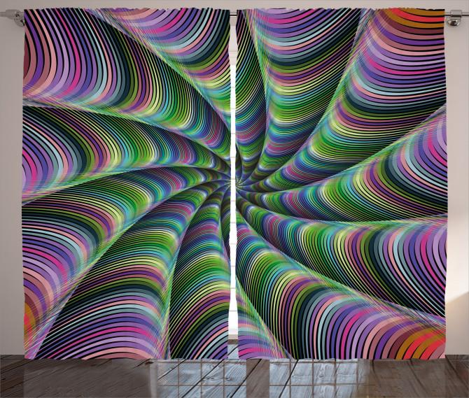 Rengarenk Desenli Fon Perde Fraktal Geometrik