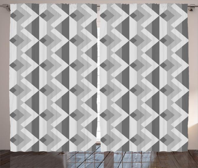 Gri Geometrik Desenli Fon Perde Dekoratif Şık