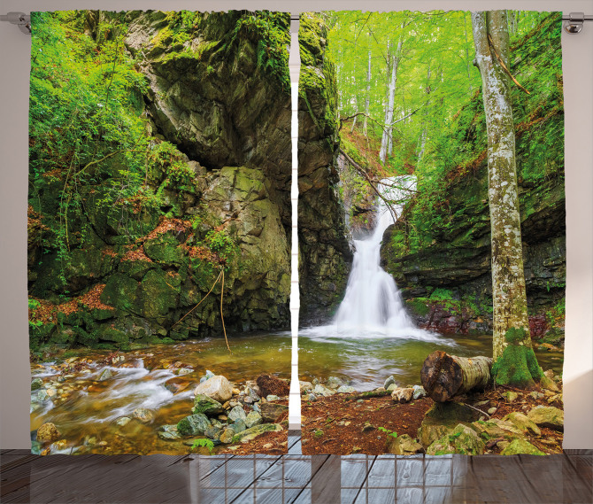 Spring Waterfall Nature Curtain