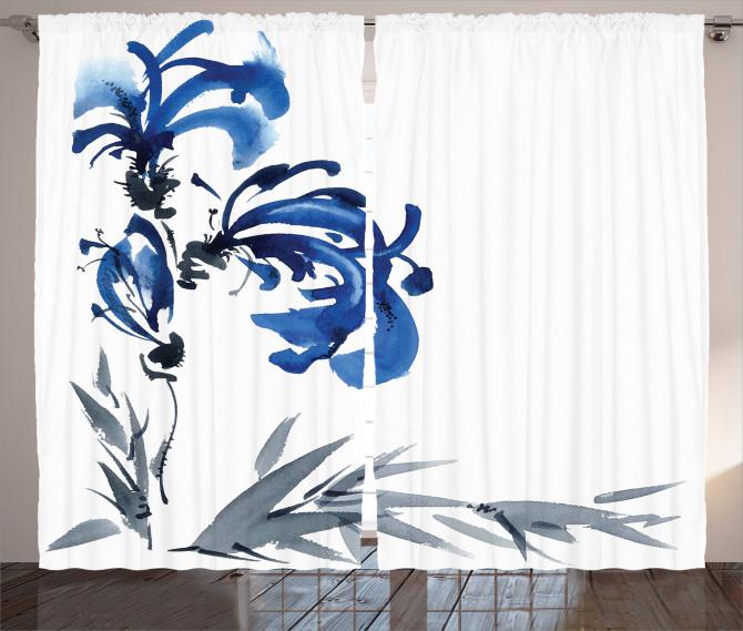 Gri Mavi Çiçek Desenli Fon Perde Şık Dekoratif