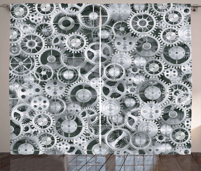 Clock Technologic Pattern Curtain